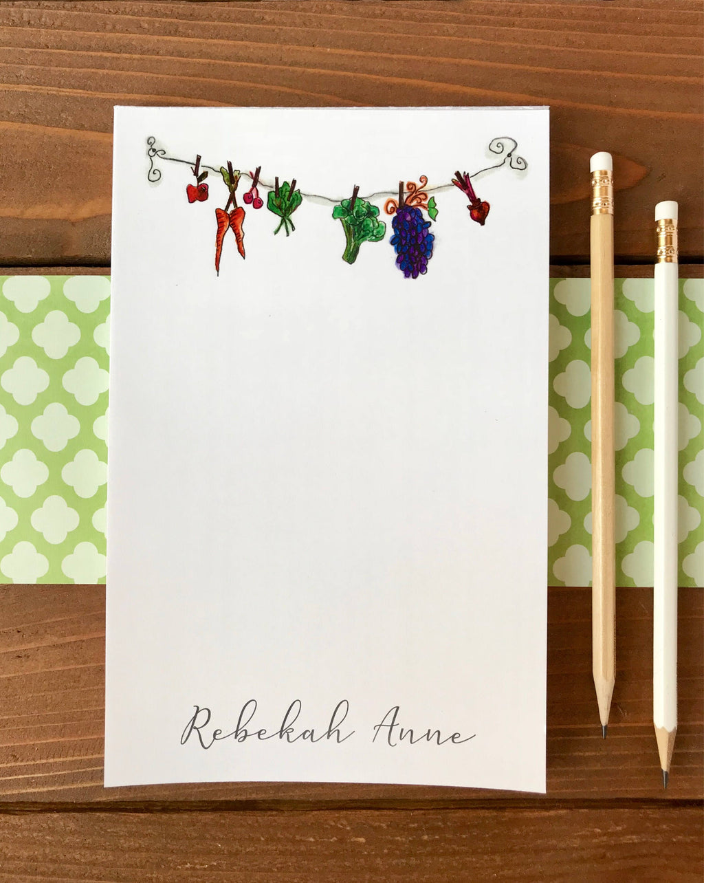 Clothesline Veggies Notepad - Kitchen Notepad, Fruits and Veggies, Hostess Gift, Vegetable Notepad, Consultant Gift, Fruit Art - 5.5 x 8.5
