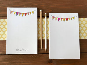 Bunting Personalized Notepad, Personalized Note Pads, Bunting Banner Magnetic Notepad, Cute Notepads, Desk Pad, Note Paper Pad - 5.5 x 8.5