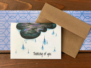 Thinking of You Card Set, Rain Clouds Sympathy Cards, Empathy Card - Boxed Set of 8