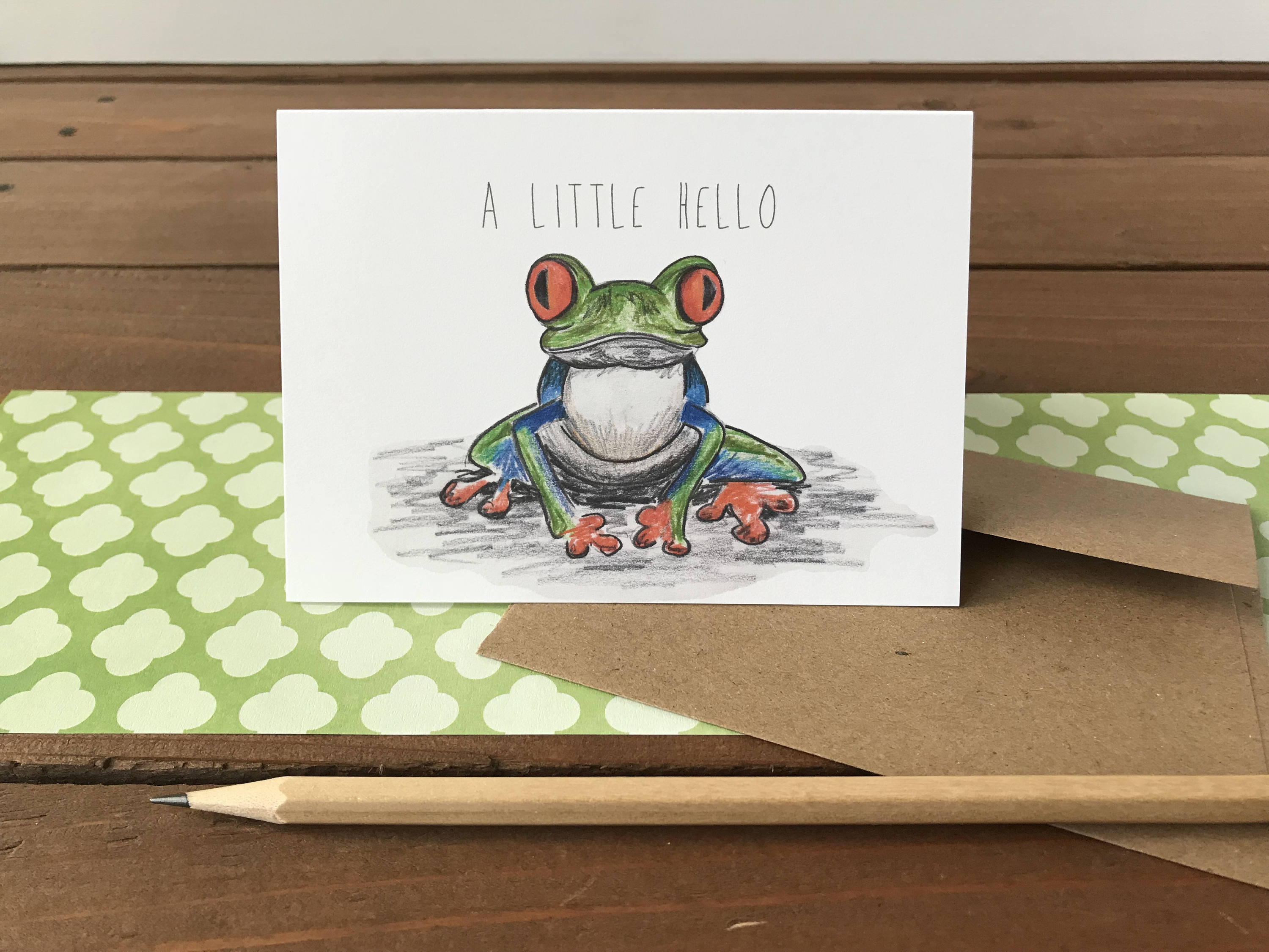 Tree Frog Note Card, Choose Your Own Saying - Boxed Set of 8 Cards