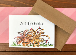Porcupine Note Cards, Choose Your Own Saying, Cute Porcupine Cards  - Boxed Set of 8