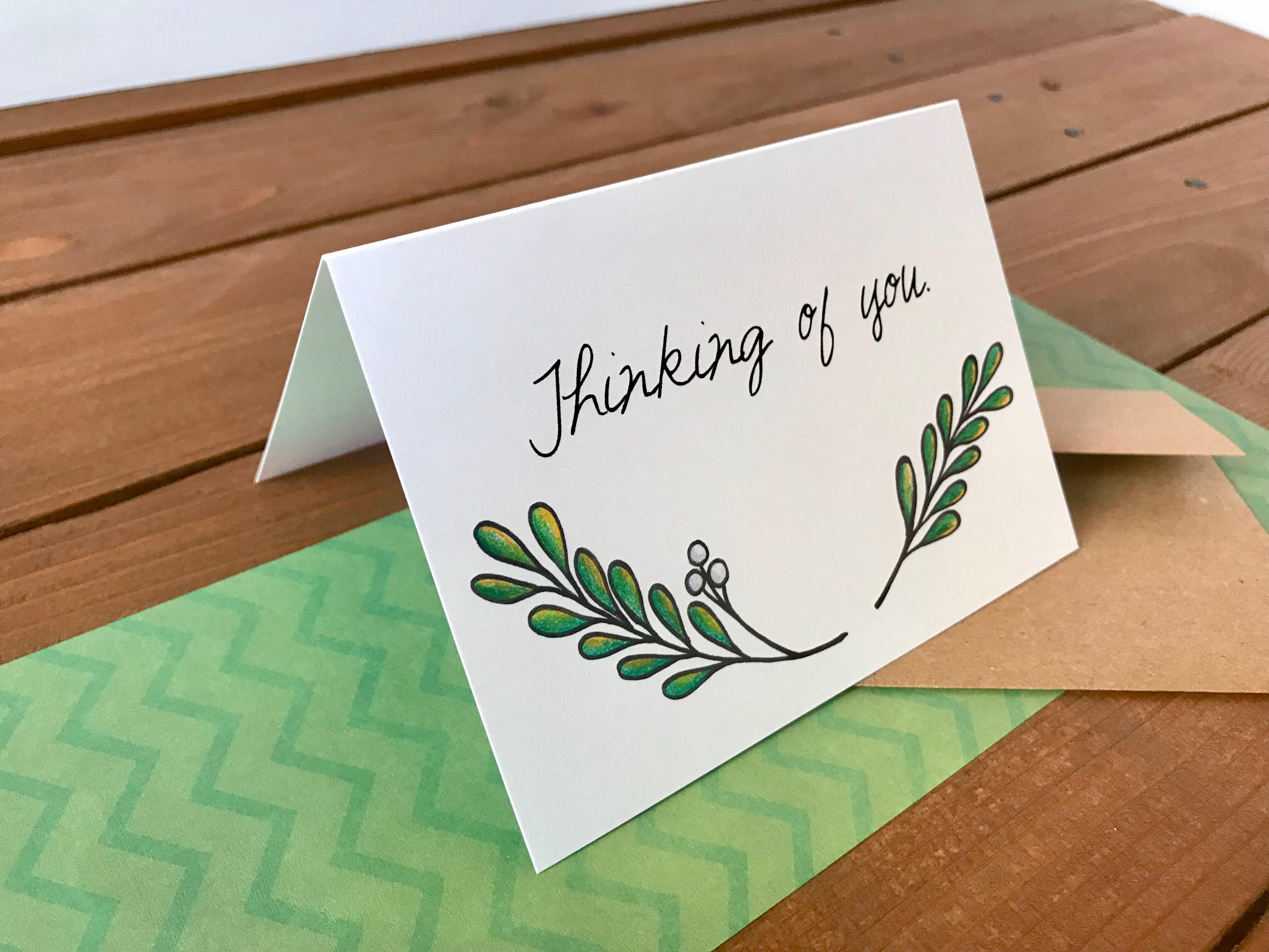 Green Branch Note Card Set, Peace Be With You, Sympathy Cards, Holiday Cards, Personalized Cards, Blank Notecards - Boxed Set of 8 Cards