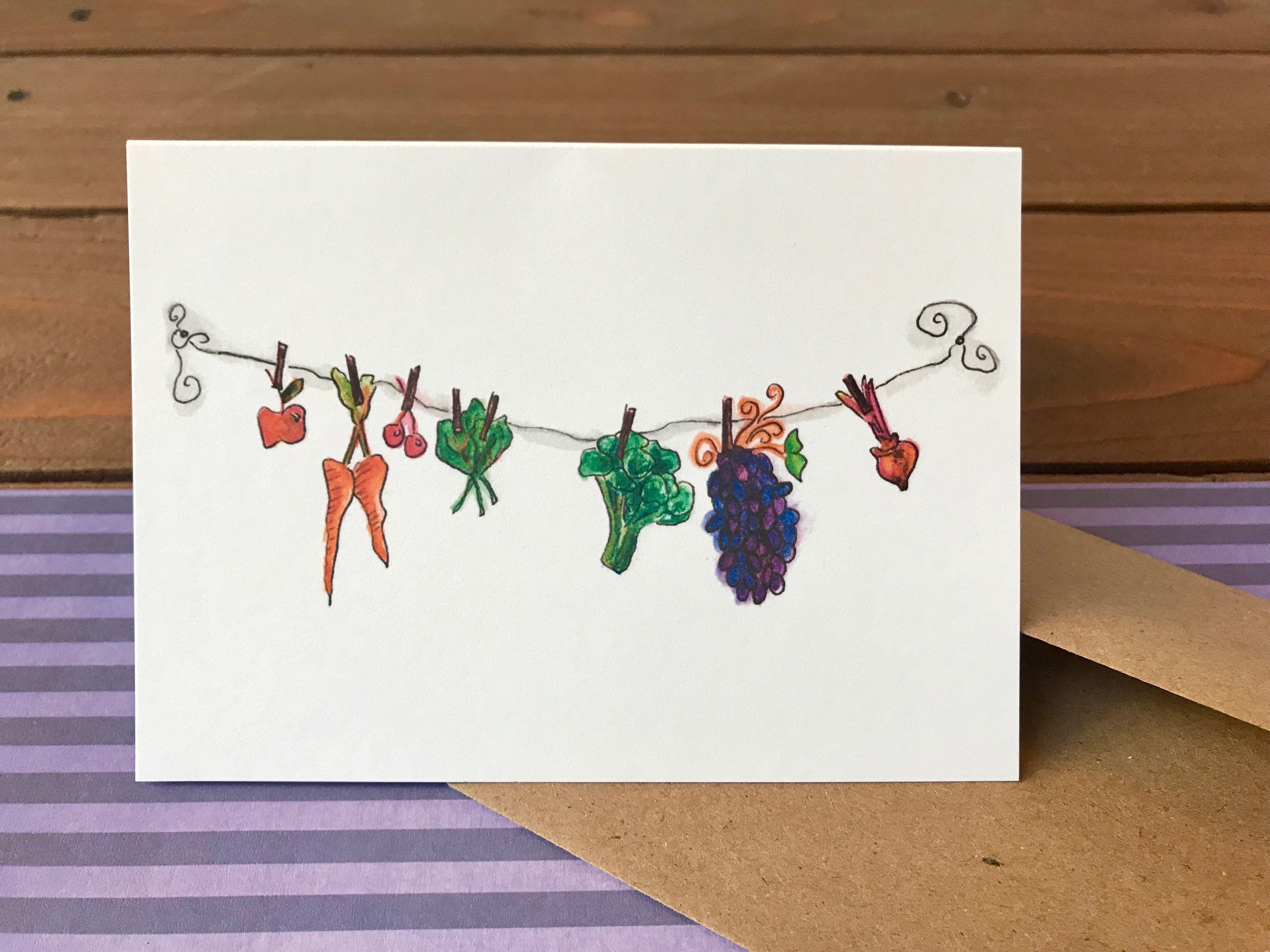 Clothesline Veggies Note Card Set, Choose Your Own Saying, Thank You Notes - Boxed Set of 8 Cards