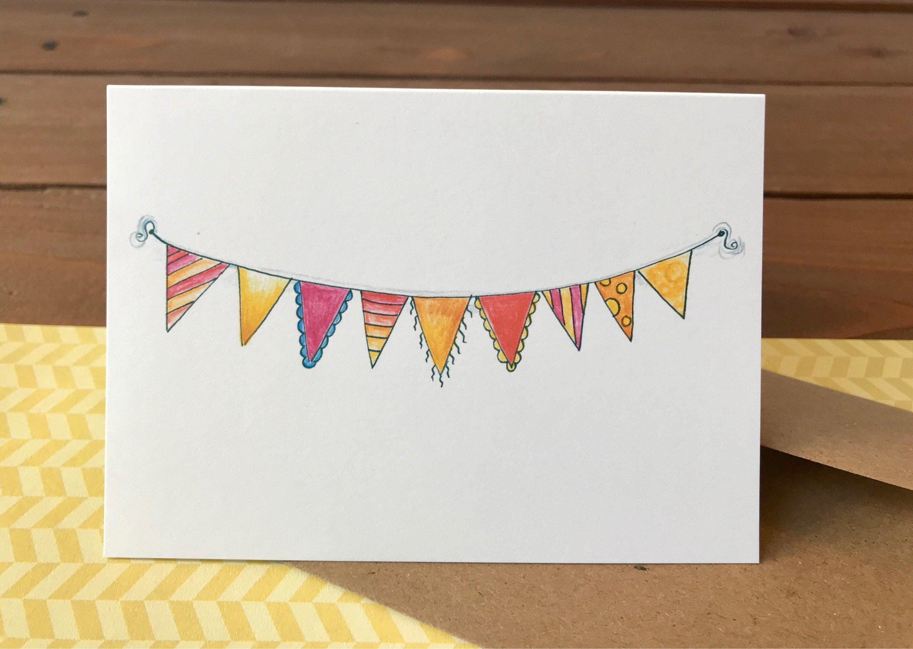 Bunting Happy Birthday Card Set, Birthday Card Pack, Birthday Card Friend Birthday Card, Notecards, Kids Birthday Cards  - Boxed Set of 8
