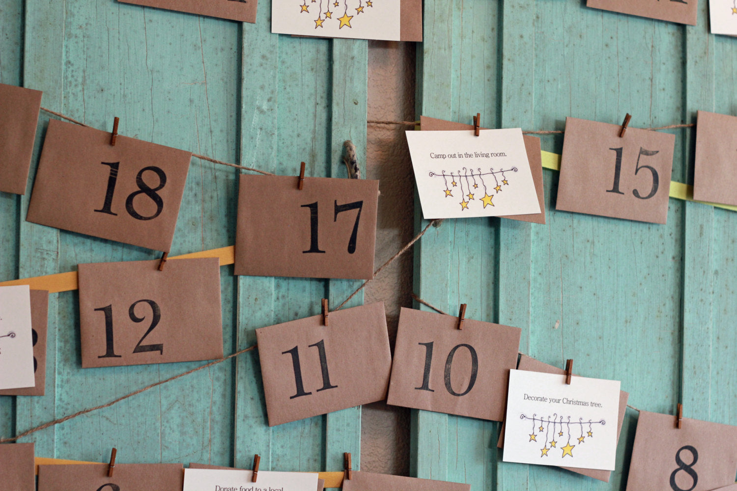 Advent Calendar, Unique Advent Calendars, New Family Tradition Christmas Traditions, Christmas Countdown, Nontraditional Advent Calendar Kit