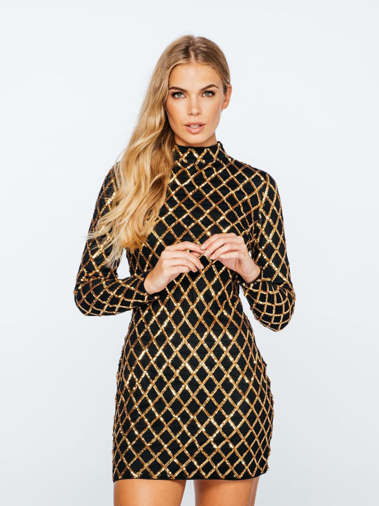 Stay in Vegas Black and Gold Diamond Sequin Bodycon Dress - Bon Robe Dresses