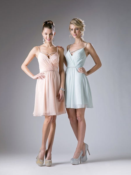 Alexa Embellished Cross Straps V-Back Short Dress - Bon Robe Bridesmaid