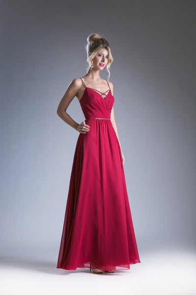 Alexa Embellished Cross Straps V-Back Long Dress - Bon Robe Bridesmaid