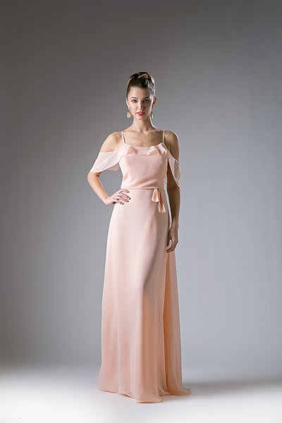Becca Cold Shoulder Ruffle Maxi Dress - Bon Robe Bridesmaid