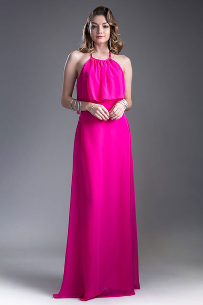 April Chiffon Round Neck Halter Long Dress - Bon Robe Bridesmaid