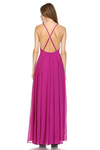 Enduring Love Flowy Georgette Maxi Dress in Passion Purple - Bon Robe Bridesmaid