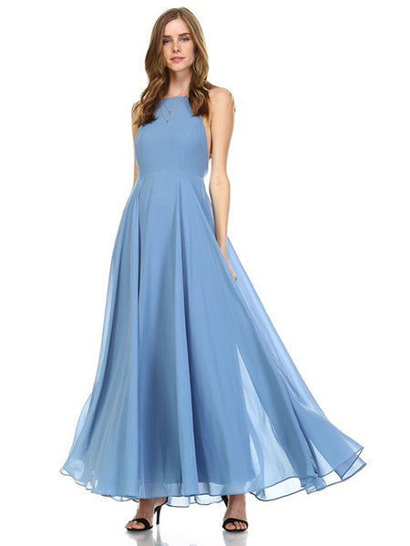Enduring Love Flowy Georgette Maxi Dress in Slate - Bon Robe Bridesmaid