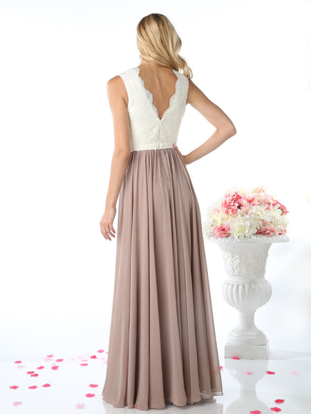 Eloise Scalloped V-Neck Two-Tone Chiffon Lace Dress - Bon Robe Bridesmaid