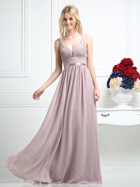 Athena Shirred Illusion Empire Dress - Bon Robe Bridesmaid