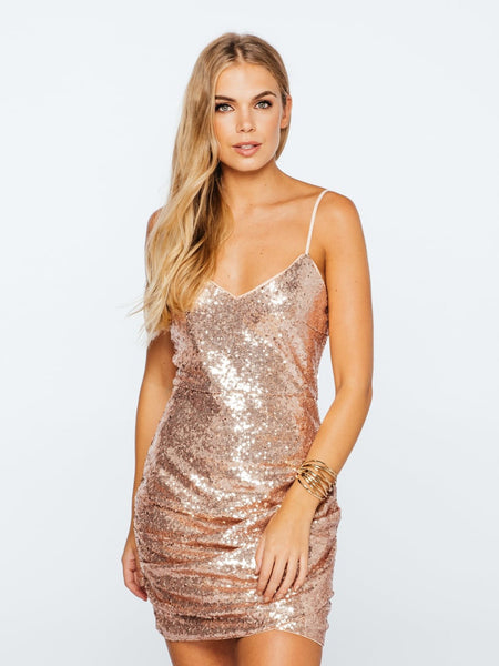 Musing Hearts Ruched Sequin Cami Dress in Rose Gold - Bon Robe Dresses