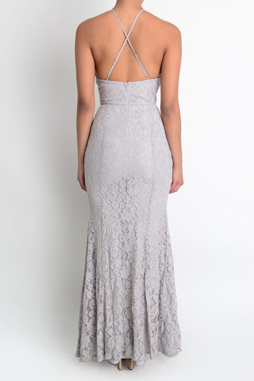 stable quality sports shoes competitive price Camilla Scalloped Lace Maxi Dress in Grey