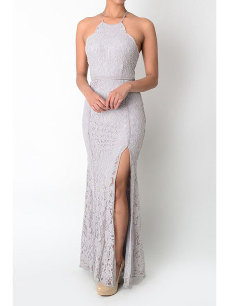 Camilla Scalloped Lace Maxi Dress in Grey - Bon Robe Dresses