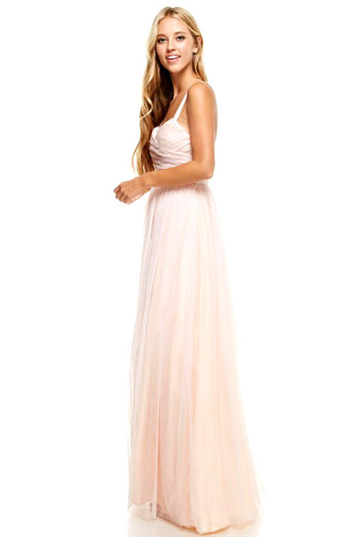 Sunday Love Strapless Sweetheart Tulle Gown in Blush - Bon Robe Bridesmaid