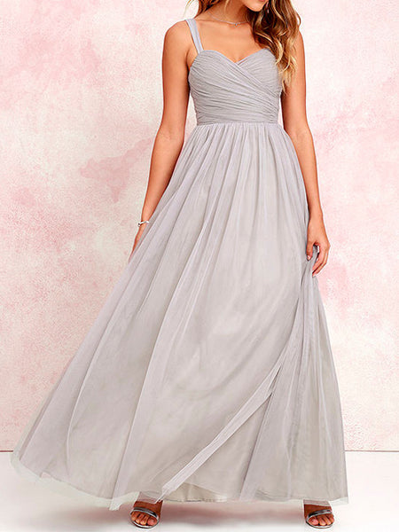 Sunday Love Strapless Sweetheart Tulle Gown in Grey - Bon Robe Bridesmaid