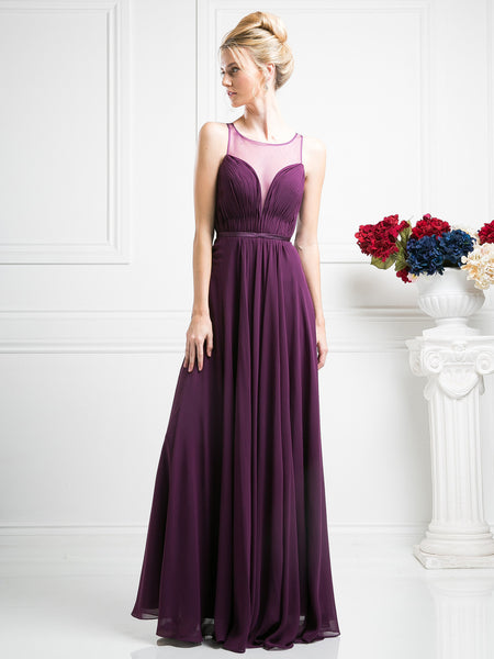 Eva Chiffon Deep Sweetheart Illusion Dress - Bon Robe Bridesmaid