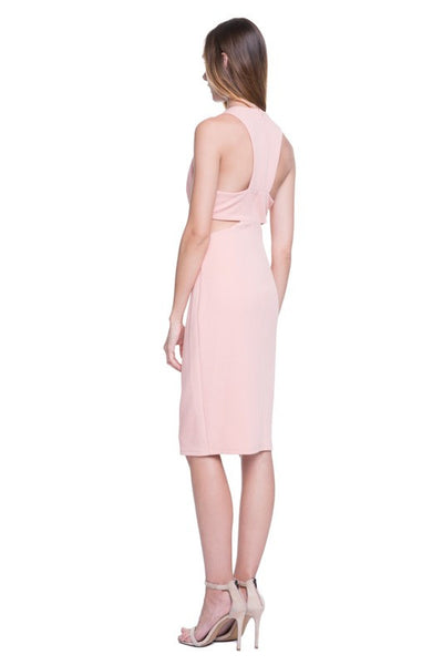 Cara Peek-A-Boo Midi Sheath Dress in Nude Pink - Bon Robe Dresses
