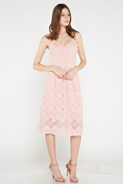 Amy Spaghetti Straps Lace Midi Dress in Rose Pink - Bon Robe Dresses