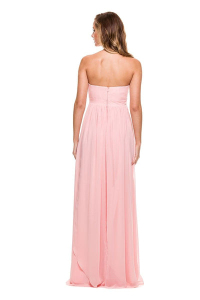 Chiffon Convertible Dress Multi-Way Tie Empire Long Gown in Blush - Bon Robe Bridesmaid