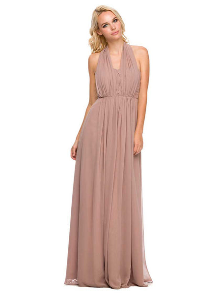 Chiffon Convertible Dress Multi-Way Tie Empire Long Gown in Tan - Bon Robe Bridesmaid