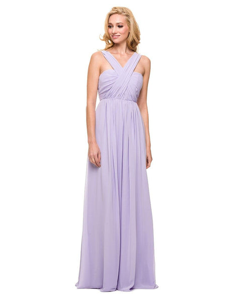 Chiffon Convertible Dress Multi-Way Tie Empire Long Gown in Lilac - Bon Robe Bridesmaid