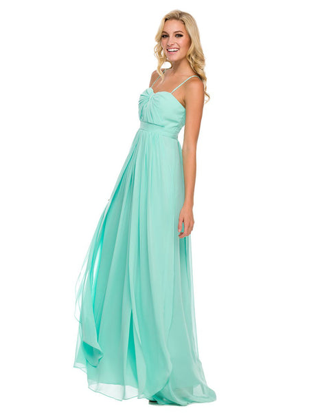 Chiffon Convertible Dress Multi-Way Tie Empire Long Gown in Mint - Bon Robe Bridesmaid
