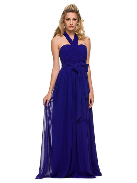 Chiffon Convertible Dress Multi-Way Tie Empire Long Gown in Royal Blue - Bon Robe Bridesmaid
