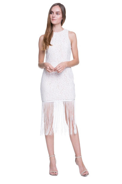 Brie Sleeveless Lace Fringe Sheath Dress in Off White - Bon Robe Dresses