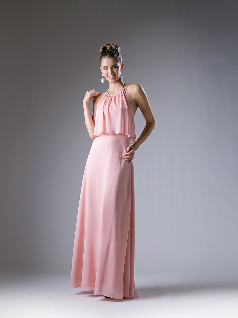 Tess Overlay Halter Tie Chiffon Maxi Dress - Bon Robe Bridesmaid