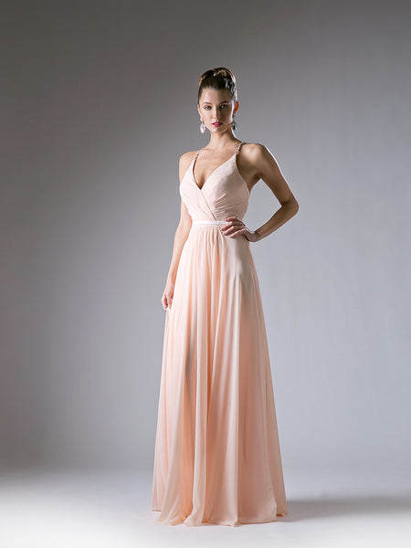 Arianne Embellished Cross Back Straps V Neck Dress in Peach - Bon Robe Bridesmaid
