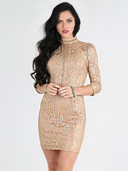 Jasmine Lace High Collar Bodycon Dress in Gold - Bon Robe Dresses