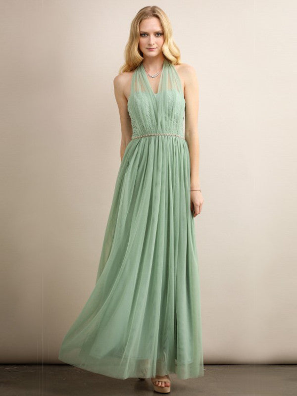 Fairie Mesh and Lace Maxi Gown in Sage - Bon Robe Bridesmaid