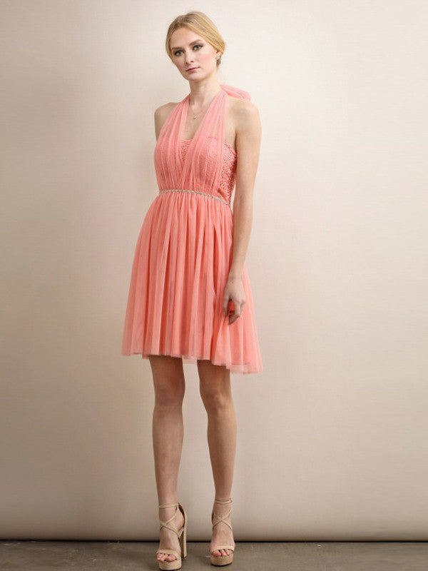 Fairie Mesh and Lace Halter Short Dress in Coral - Bon Robe Bridesmaid