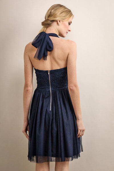 Fairie Mesh and Lace Halter Short Dress in Navy - Bon Robe Bridesmaid