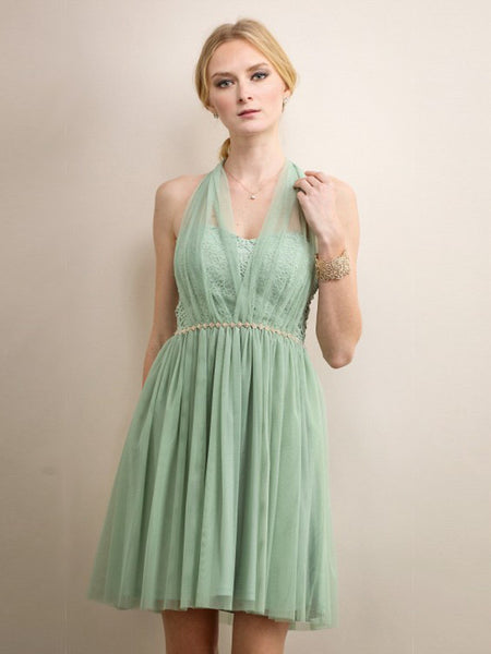 Fairie Mesh and Lace Halter Short Dress in Sage - Bon Robe Bridesmaid