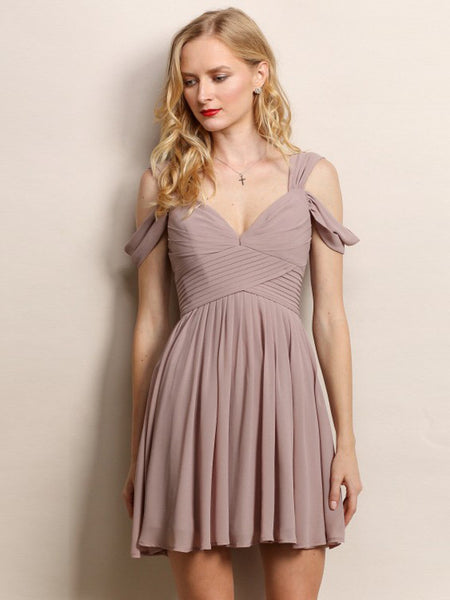 Loren Double Off The Shoulder Sweetheart Short Dress in Beige - Bon Robe Bridesmaid