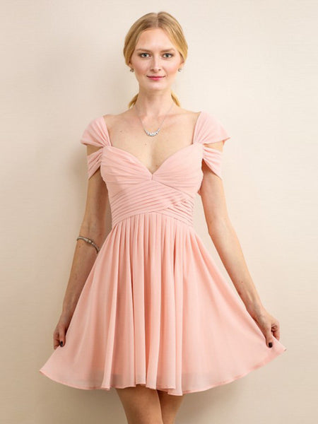 Loren Double Off The Shoulder Sweetheart Short Dress in Blush - Bon Robe Bridesmaid