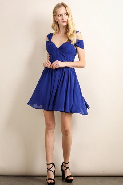 Loren Double Off The Shoulder Sweetheart Short Dress in Royal Blue - Bon Robe Bridesmaid