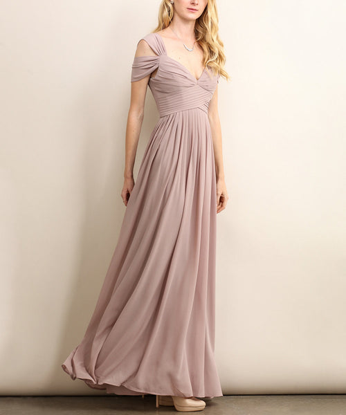 Loren Double Off The Shoulder Sweetheart Maxi Dress in Beige - Bon Robe Bridesmaid