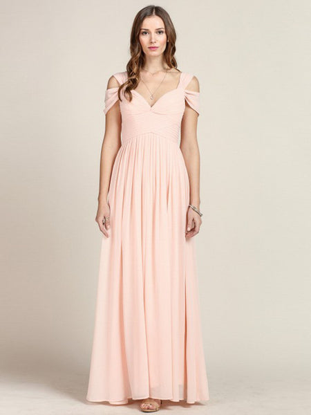 Loren Double Off The Shoulder Sweetheart Maxi Dress in Blush - Bon Robe Bridesmaid