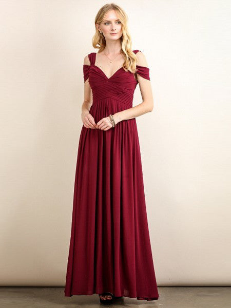 Loren Double Off The Shoulder Sweetheart Maxi Dress in Burgundy - Bon Robe Bridesmaid