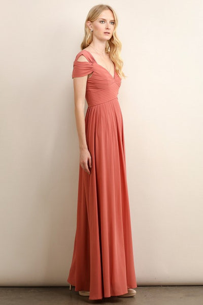 Loren Double Off The Shoulder Sweetheart Maxi Dress in Vintage Rose - Bon Robe Bridesmaid