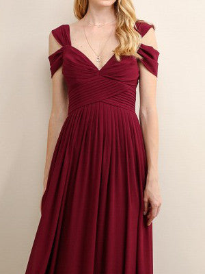 Loren Double Off The Shoulder Sweetheart Maxi Dress in Winter Wine - Bon Robe Bridesmaid