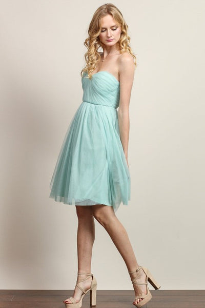 Anna Convertible Tulle Short Dress in Light Sage - Bon Robe Bridesmaid