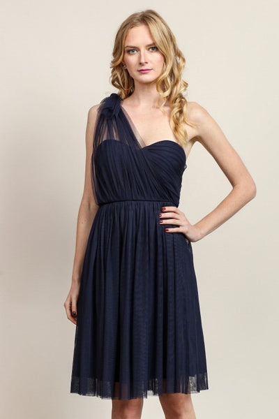 Anna Convertible Tulle Short Dress in Navy Blue - Bon Robe Bridesmaid
