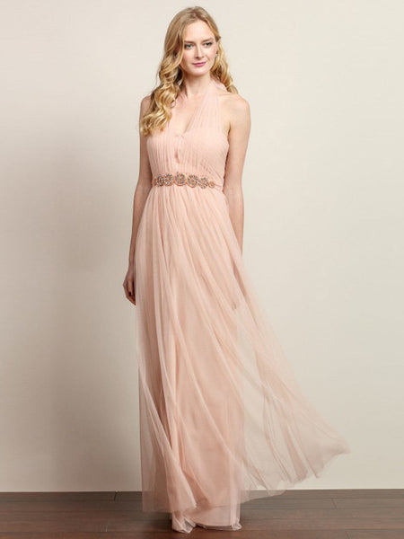 Anna Convertible Tulle Column Dress with Belt in Blush - Bon Robe Bridesmaid